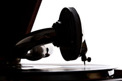 Gramophone needle playing record Stock Photography