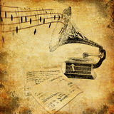Gramophone nostalgia. Retro musical theme with vintage phonograph and grunge effects stock images
