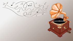 Gramophone with notes vector illustration