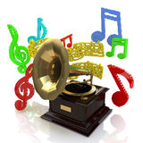 Gramophone and notes Royalty Free Stock Photography