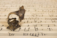 Gramophone on old sheet music stock photos