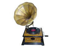 Gramophone. Old wooden mechanical gramophone with copper pipe for playing vinyl records royalty free stock photography