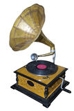 Gramophone. Old wooden mechanical gramophone with copper pipe for playing vinyl records stock photography