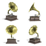 Gramophone playing disc icons. Four views of an old retro vintage gramophone playing disc Stock Photo