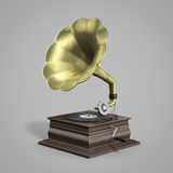 Gramophone playing disc. Retro vintage gramophone playing disc in perspective view Stock Image