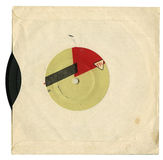 Gramophone record. Vintage gramophone record in the envelope on white Stock Photo