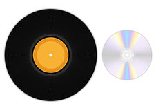 Gramophone record and CD Stock Image