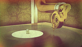 Gramophone with retro effect Royalty Free Stock Images