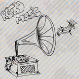 Gramophone retro hand drawn design card Stock Images