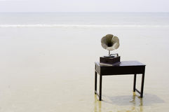 Gramophone at seaside Royalty Free Stock Photos