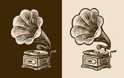 Gramophone sketch. Retro music, nostalgia. Vintage vector illustration Stock Images
