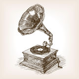 Gramophone sketch style vector illustration Stock Images