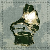 The gramophone. Vintage illustration with gramophone drawn in grunge style stock illustration