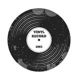 Gramophone vinyl LP record. Radio, rock'n'roll. Music sound. DJ retro music. Vinyl record. Label and badge Stock Photography