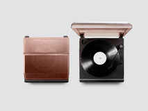 Gramophone vinyl player mockup opened and closed, top view, Stock Photography