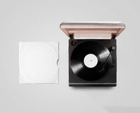 Gramophone vinyl player and record cover sleeve mockup, top view Royalty Free Stock Photos