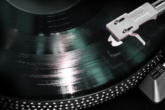 Gramophone with a vinyl record Stock Photo