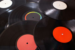 Gramophone vinyl records. Old gramophone vinyl records background Royalty Free Stock Photography