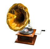 Gramophone on white background. Wooden vintage antique old gramophone on white background stock image