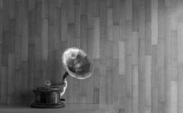 Gramophone  with wooden wall on background in black and white. In a coffee shop in Corfu Greece Europe Stock Photos
