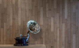 Gramophone  with wooden wall on background in color. Gramophone  with wooden wall on background in color in a coffee shop in Corfu Greece Europe Stock Images