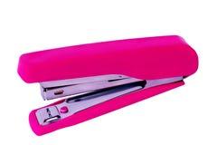 Grampeador cor-de-rosa isolado no fundo branco imagem de stock