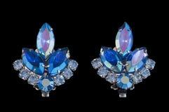 Grampo azul do vintage em brincos Imagens de Stock Royalty Free