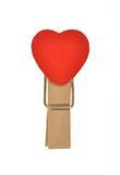 Grampo de madeira da forma do coração Imagens de Stock