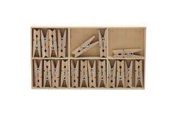 Grampo de madeira na caixa Fotografia de Stock