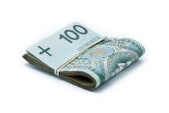 Grampo de notas de banco polonesas Imagens de Stock
