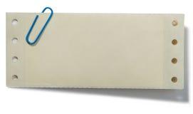 Grampo de papel e nota Fotos de Stock