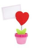Grampo do coração com nota do papel em branco Imagem de Stock Royalty Free
