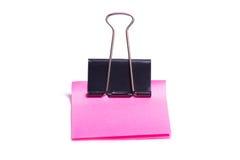 Grampo e espaço em branco da cor-de-rosa imagens de stock
