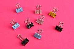 Grampos coloridos da pasta Foto de Stock