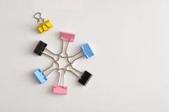 Grampos coloridos da pasta Imagem de Stock