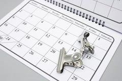 Grampos de buldogue no calendário fotografia de stock royalty free