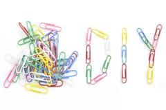 Grampos de papel coloridos Fotografia de Stock Royalty Free
