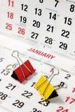 Grampos de papel no calendário Fotos de Stock