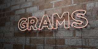GRAMS - Glowing Neon Sign on stonework wall - 3D rendered royalty free stock illustration Stock Photos