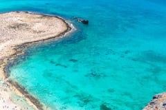Gramvousa ö nära Kreta, Grekland. Balos strand. Magiskt turkosvatten, lagun, sätter på land royaltyfri foto