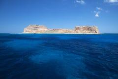 Gramvousa ö, Crete, Grekland. Arkivfoto