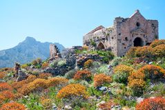 Gramvousa Fortress Church Ruins. On the island of Crete stock images