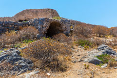Gramvousa island in Crete, Greece with remains of Venetian fort Royalty Free Stock Photos
