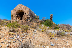 Gramvousa island in Crete, Greece with remains of Venetian fort Royalty Free Stock Photo