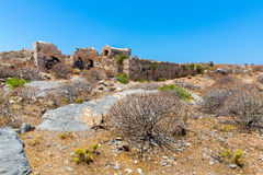 Gramvousa island in Crete, Greece with remains of Venetian fort Royalty Free Stock Image