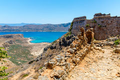 Gramvousa island in Crete, Greece with remains of Venetian fort and magical turquoise waters, lagoons Royalty Free Stock Photography