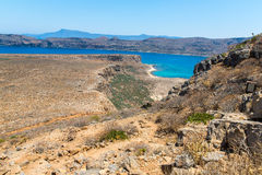 Gramvousa island in Crete, Greece with remains of Venetian fort and magical turquoise waters Royalty Free Stock Photos