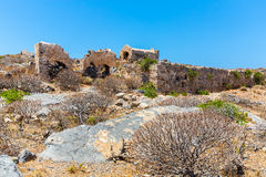 Gramvousa island in Crete, Greece with remains of Venetian fort and magical turquoise waters, lagoons Royalty Free Stock Image