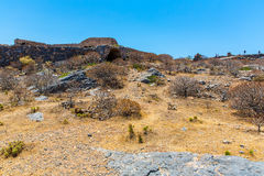 Gramvousa island in Crete, Greece with remains of Venetian fort Royalty Free Stock Images