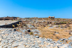 Gramvousa island in Crete, Greece with remains of Venetian fort Stock Images
